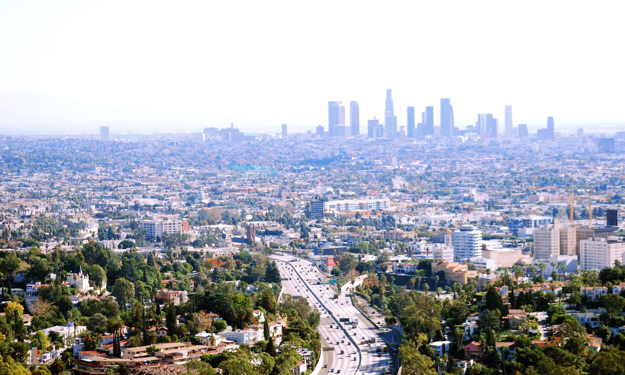 Los Angeles metropolitan area view with downtown on horizon