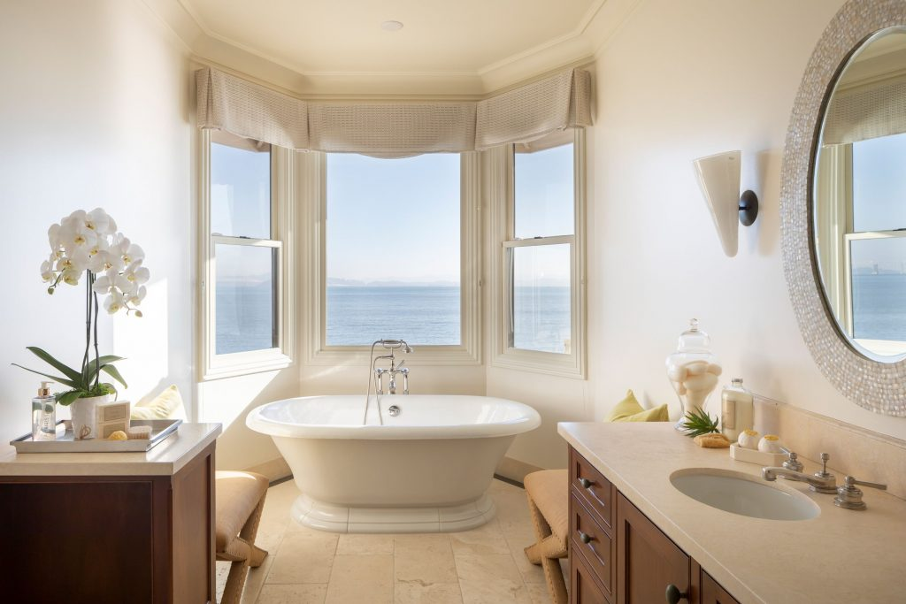 Showing Bayfront home bathroom with view