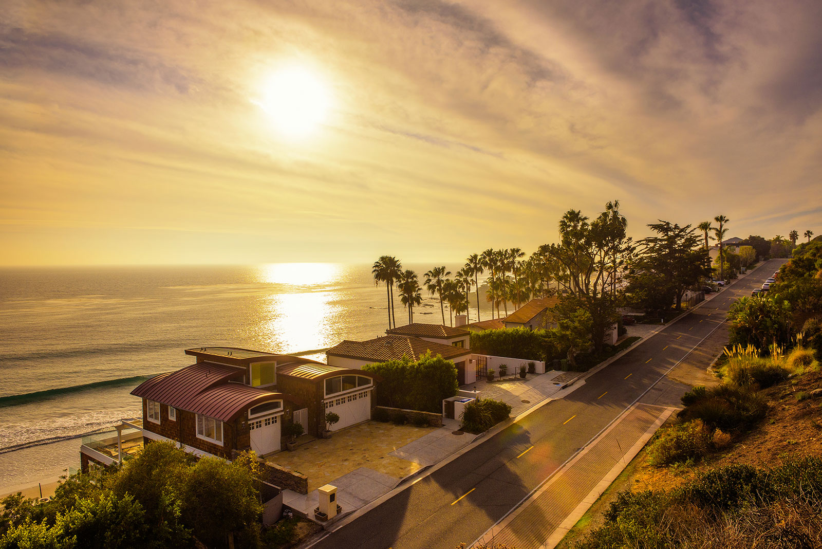 Oceanfront homes of Malibu beach in California