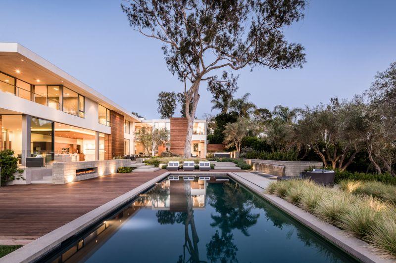 backyard of modern estate with pool