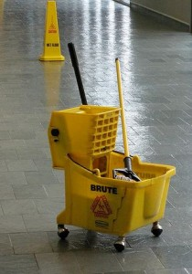 Photo of a mop and bucket