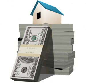 Illustration of a house on top of bundled hundred-dollar bills