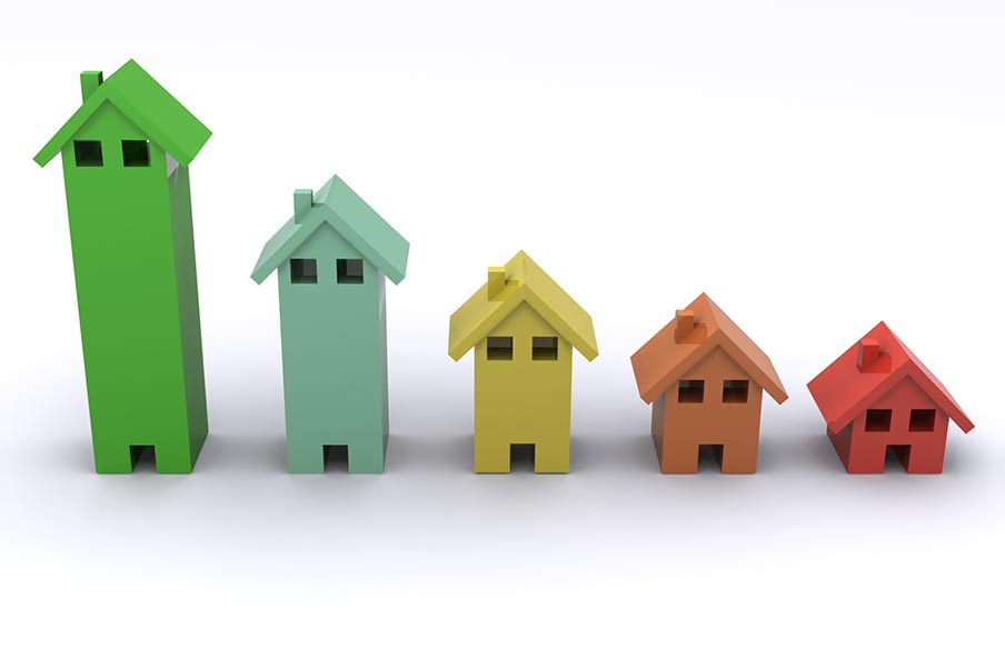 Lineup of five 3D houses in different colors
