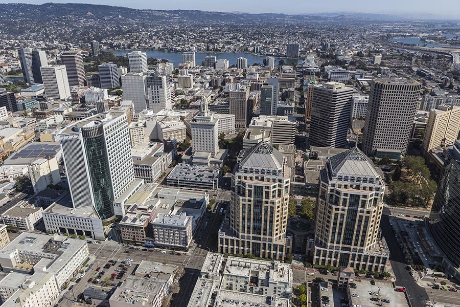 Aerial View of Downtown Oakland California