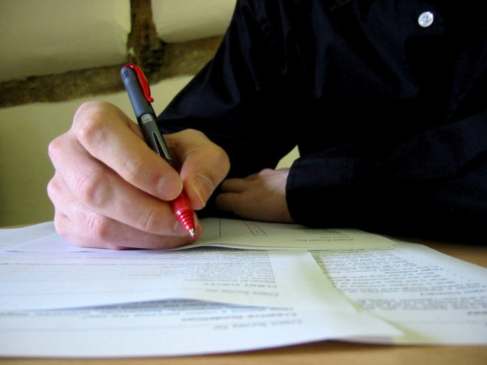 Paperwork contract insurance