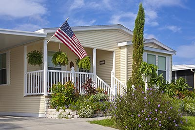 Prefabricated home with American flag