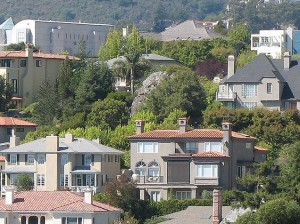 View of homes in Oakland's Rockridge neighborhood