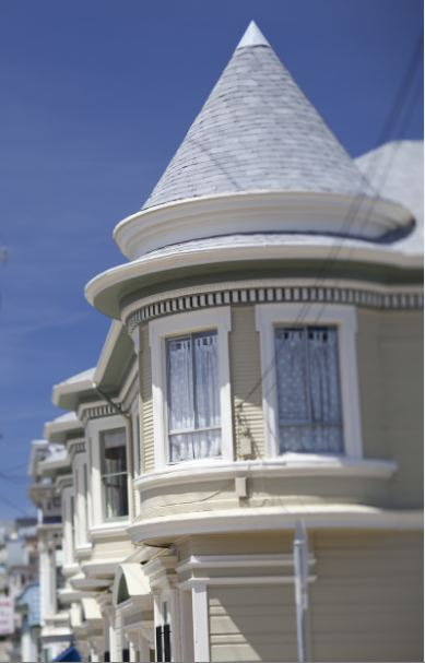 Photo of Victorian facades.