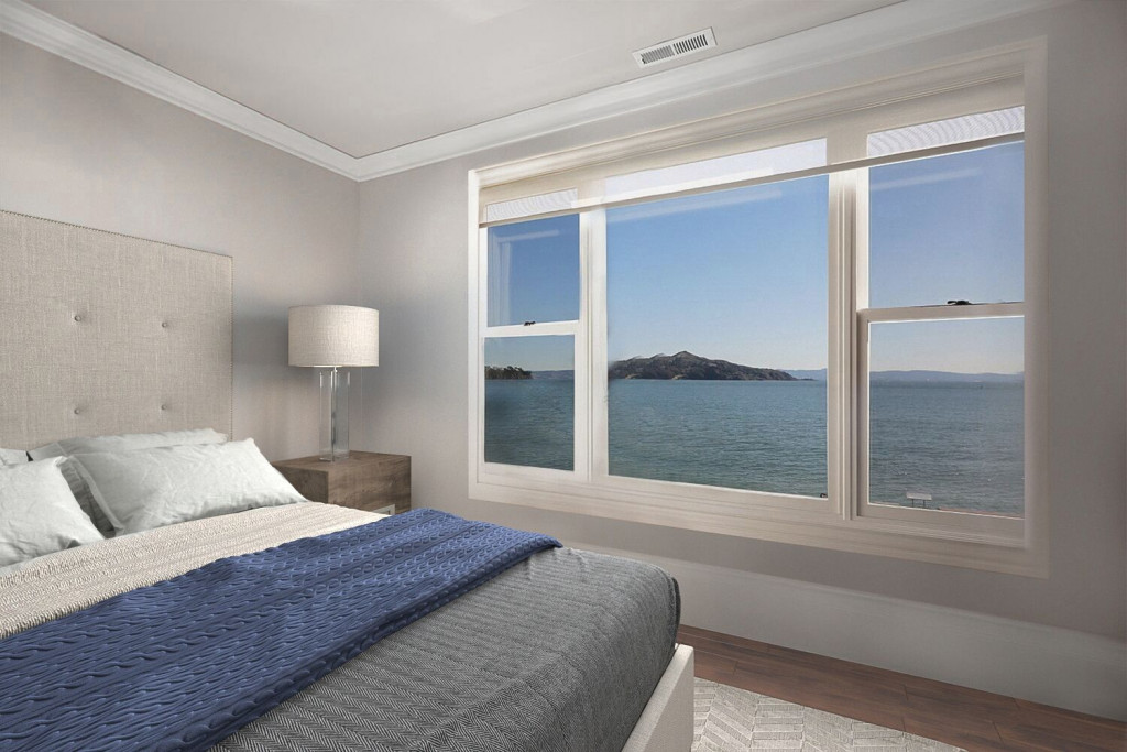 Bedroom with view of angel island