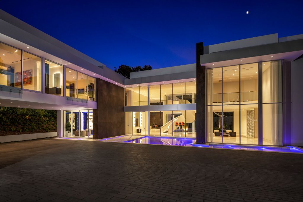 evening view of bel air home