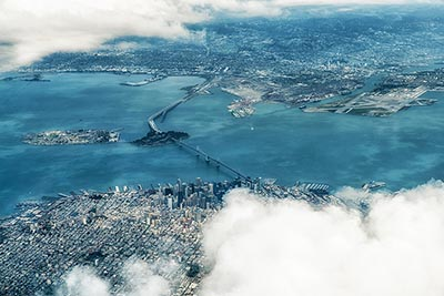 Aerial view of San Francisco and San Francisco Bay