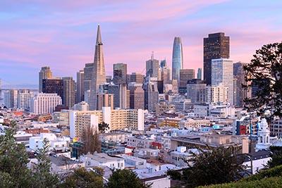 San Francisco skyline at sunset.
