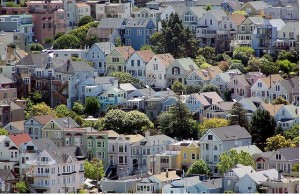 Homes crowded on a San Francisco hill