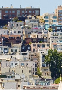 A crowded hillside of homes in San Francisco.