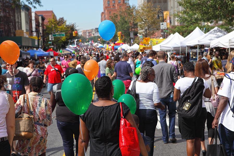View along Atlantic Antic Street Fair in Brooklyn