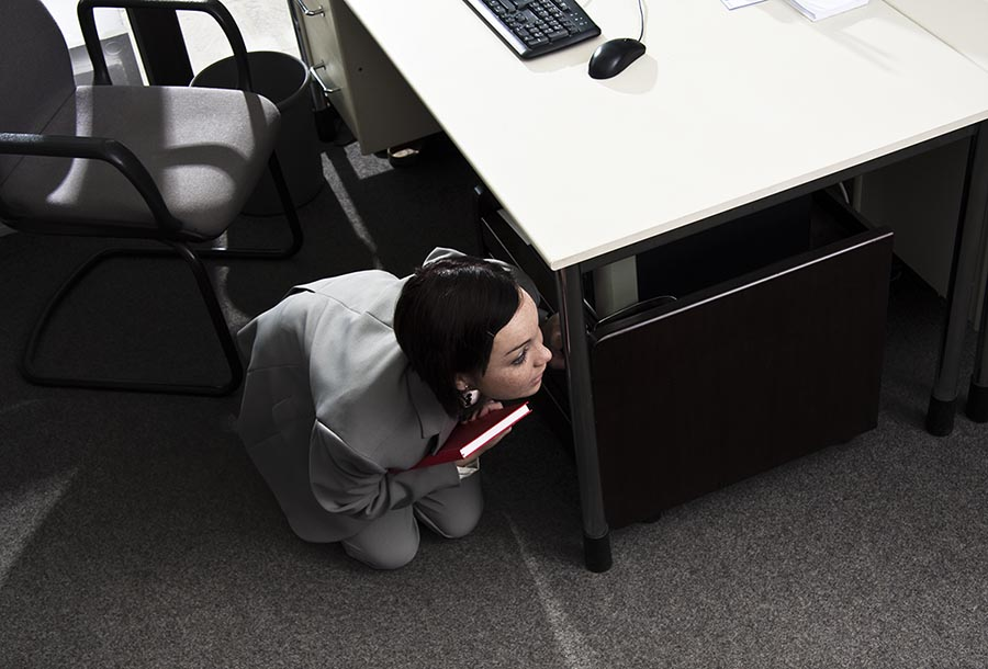 Girl hiding in office - Pacific Union