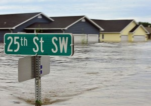 Photo of homes partially under water.