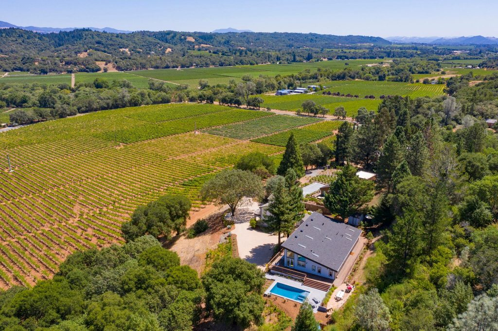 aerial view of Napa property